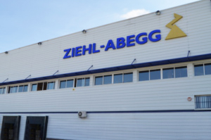 "Production hall outer wall with label ""Ziehl-Abegg"""